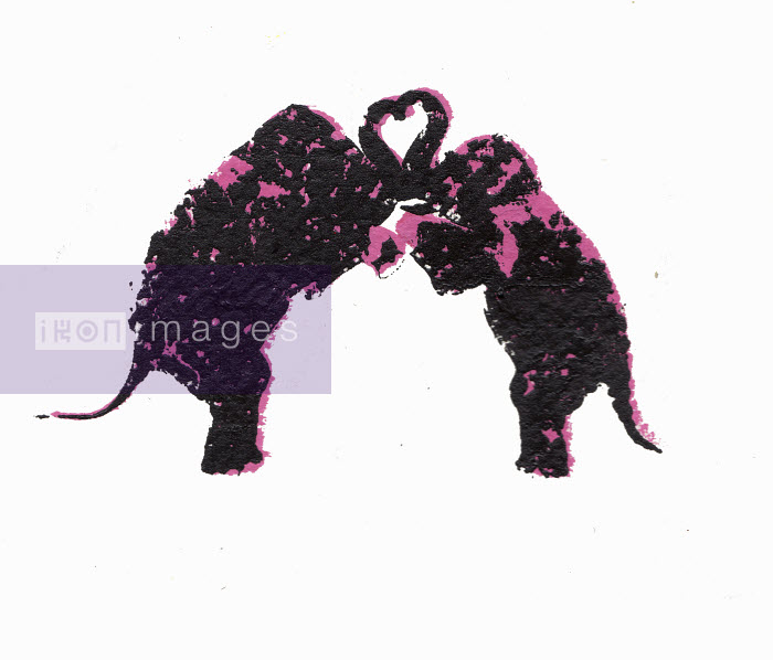 Two elephants rearing up with trunks forming heart shape - Katie Edwards