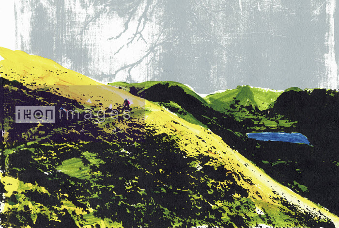 Brightly coloured illustration of cyclists at Brotherswater in the English Lake District - Katie Edwards