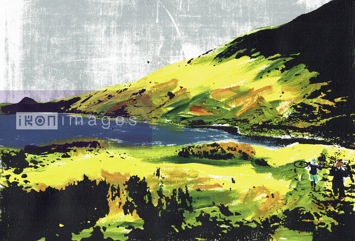 Brightly coloured illustration of cyclists carrying bikes at Hayeswater in the English Lake District - Katie Edwards