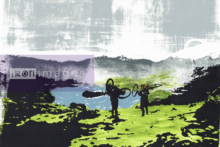 Brightly coloured illustration of cyclists carrying bikes at Loughrigg in the English Lake District - Katie Edwards