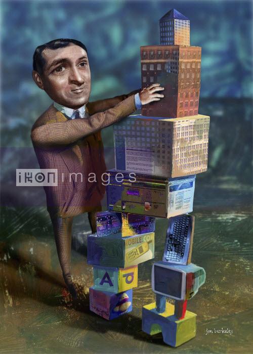 Man stacking building blocks - Man stacking building blocks - Jon Berkeley