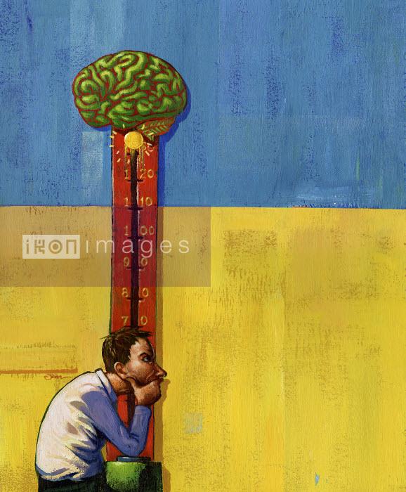 Man using brainpower to win game - Man using brainpower to win game - Jon Berkeley