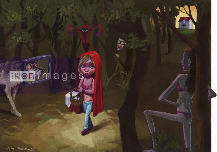 Scared girl walking in predator forest - Scared girl walking in predator forest - Jon Berkeley