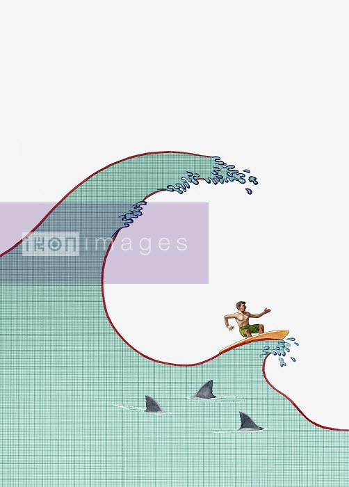 Man surfing on financial wave - Man surfing on financial wave - Jon Berkeley
