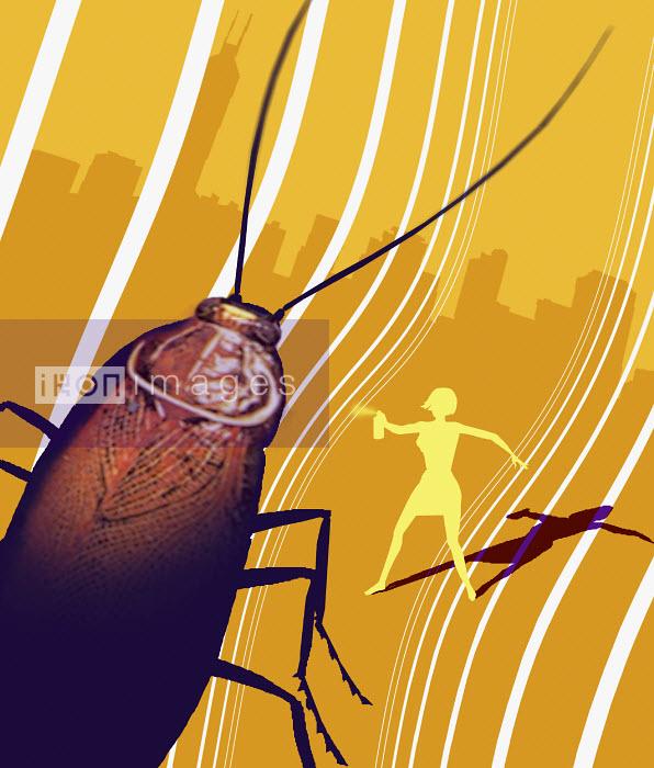 Woman spraying killer bug - Woman spraying killer bug - Jon Berkeley