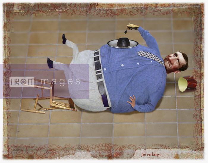 Fat man falling over in chair - Fat man falling over in chair - Jon Berkeley