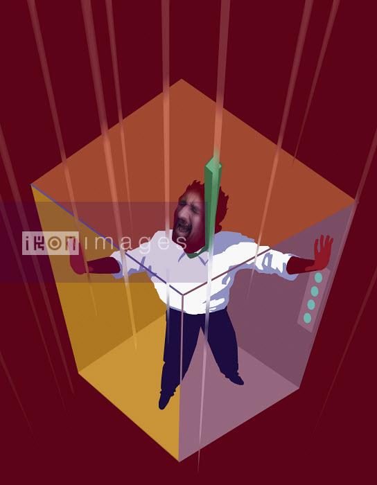 Man trapped in falling elevator - Man trapped in falling elevator - Jon Berkeley