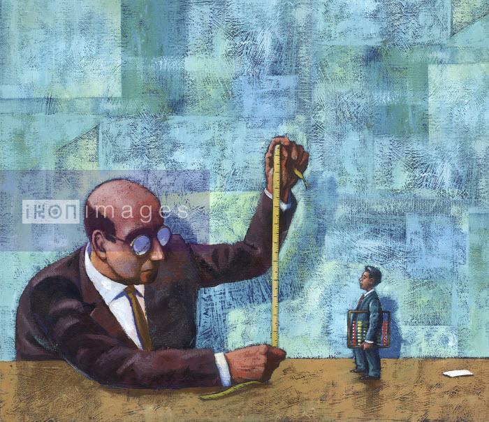 Large businessman measuring small businessman - Large businessman measuring small businessman - Jon Berkeley
