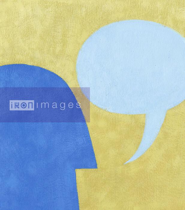 Man�s profile with speech bubble - Man�s profile with speech bubble - Jon Berkeley