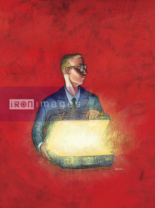 Businessman opening a glowing suitcase - Businessman opening a glowing suitcase - Jon Berkeley