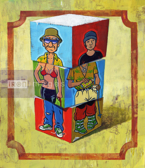 Blocks with mismatched puzzle pieces of man, teenager and woman - Blocks with mismatched puzzle pieces of man, teenager and woman - Jon Berkeley