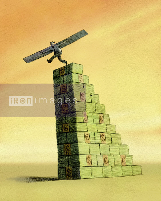 Businessman with wings stepping off stack of money - Businessman with wings stepping off stack of money - Jon Berkeley