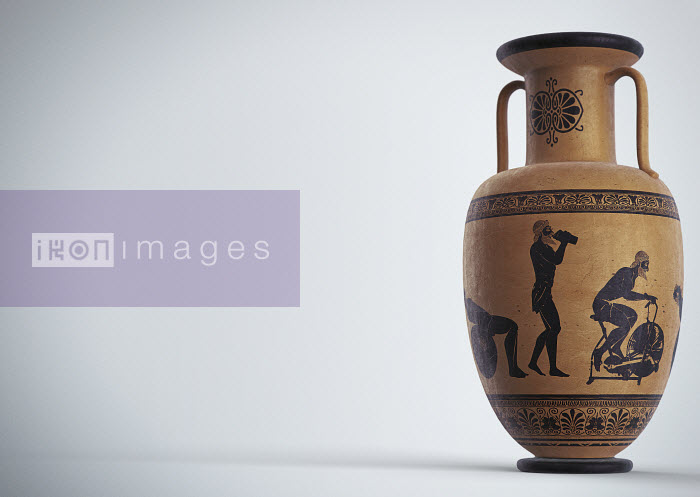 Images of man and modern exercise equipment on ancient Greek urn - Images of man and modern exercise equipment on ancient Greek urn - Peter Crowther