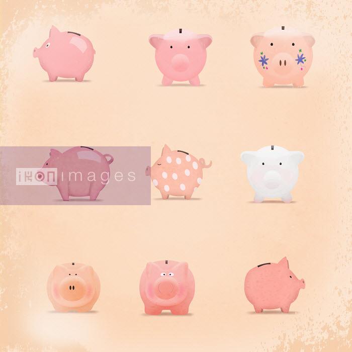 Decorated pink piggy banks - Decorated pink piggy banks - Metropolis
