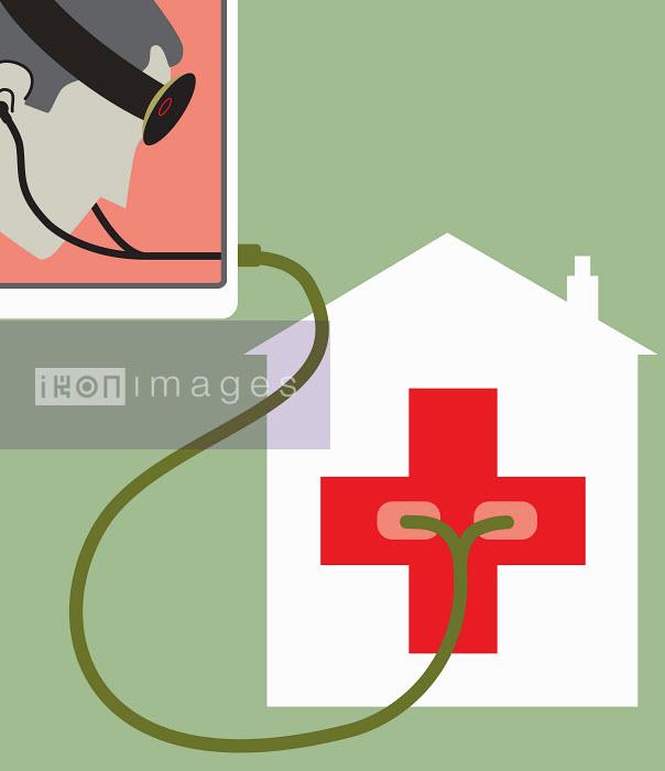 Doctor using stethoscope on hospital - Doctor using stethoscope on hospital - Andrew Baker