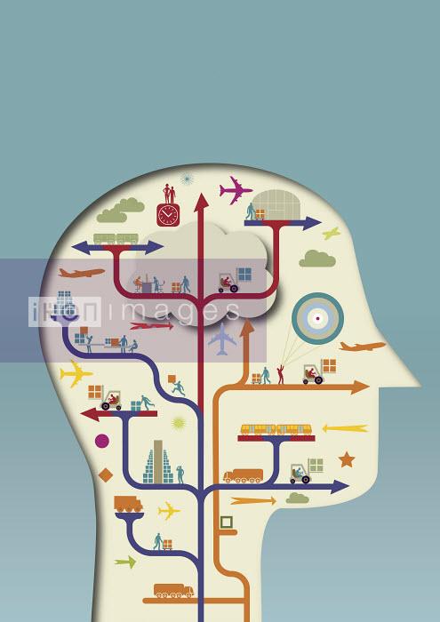 Logistics and distribution network diagram inside of man's head - Logistics and distribution network diagram inside of man's head - Andrew Baker