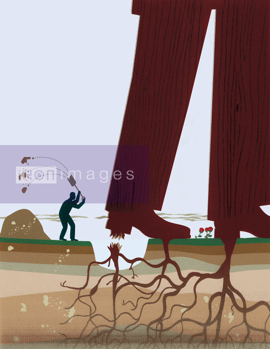 Small businessman cutting roots and freeing big businessman - Small businessman cutting roots and freeing big businessman - Andrew Baker