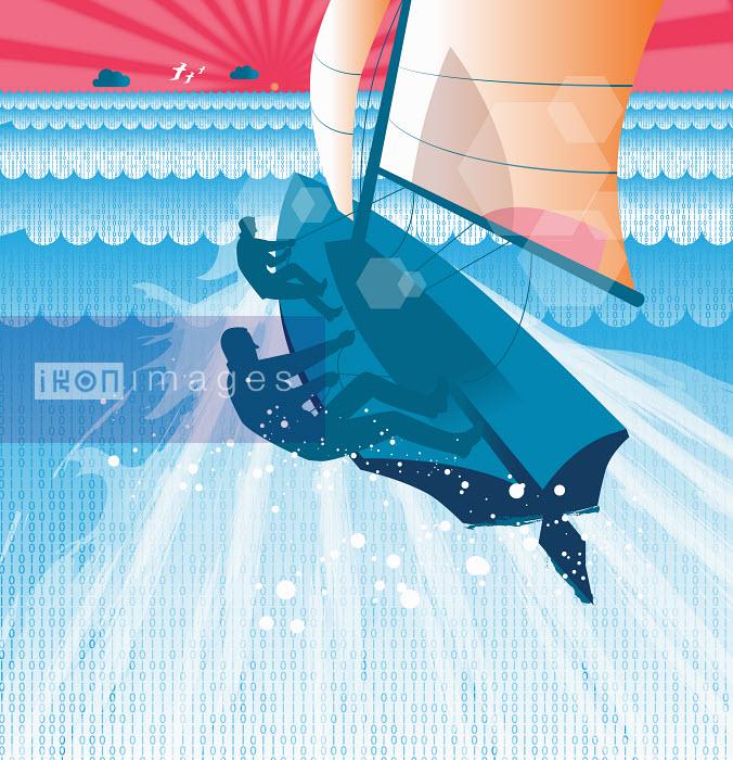 Men sailing yacht through binary code ocean - Men sailing yacht through binary code ocean - Andrew Baker