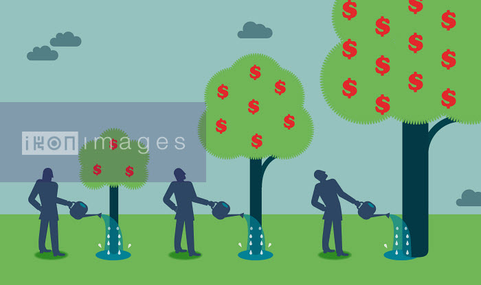 Businessman watering money tree and watching growth - Businessman watering money tree and watching growth - Andrew Baker