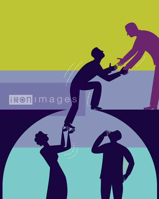 People helping man to climb out of hole using teamwork - People helping man to climb out of hole using teamwork - Andrew Baker