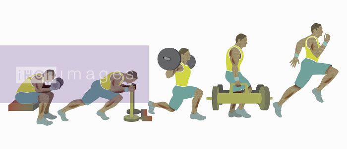 Sequence of man exercising, weight training and running - Sequence of man exercising, weight training and running - Andrew Baker