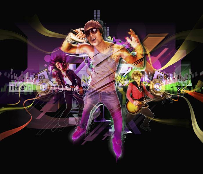 Man performing with band in nightclub - Man performing with band in nightclub - Jason Jaroslav Cook & Maria Teijeiro