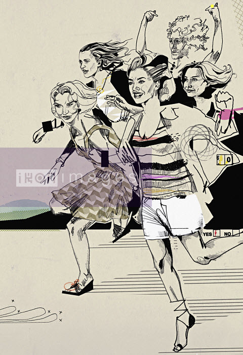 Excited female friends running - Excited female friends running - Andy MacGregor