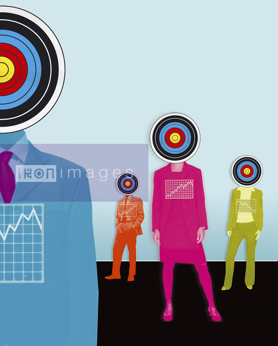 Business people with targets for heads and charts on chest - Business people with targets for heads and charts on chest - Matt Herring