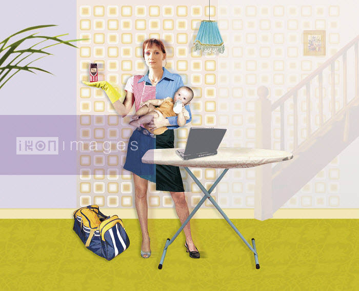 Mother with ironing board holding cell phone and baby - Mother with ironing board holding cell phone and baby - Matt Herring