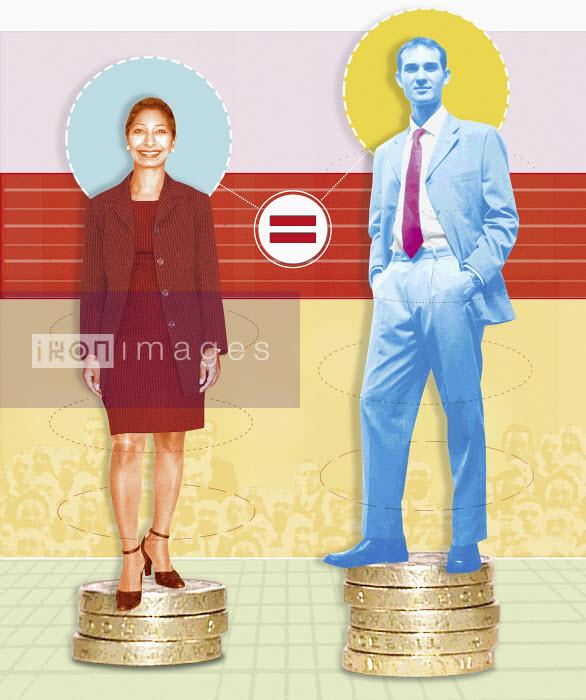 Unequal businessman and businesswoman - Unequal businessman and businesswoman - Matt Herring