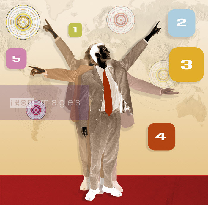 Businessmen pointing at icons - Businessmen pointing at icons - Matt Herring