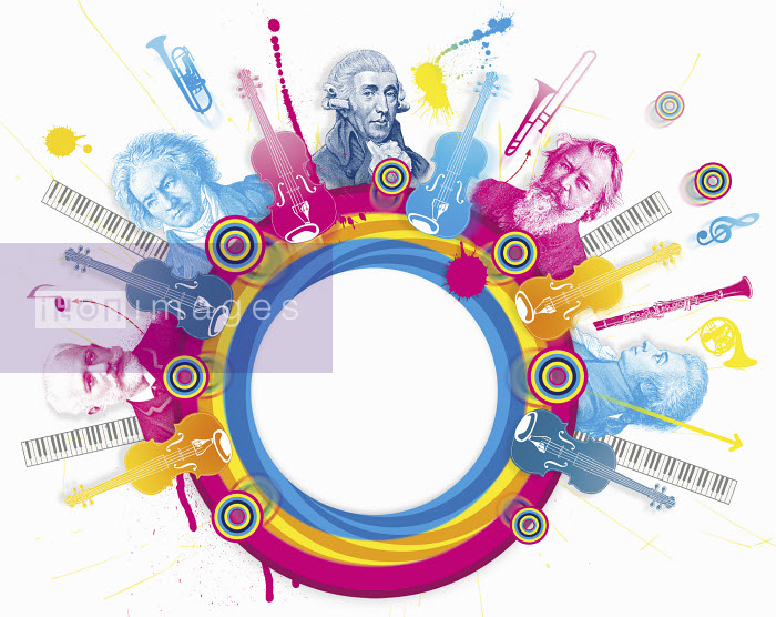 Multicolored collage of classical music composers - Multicolored collage of classical music composers - Matt Herring