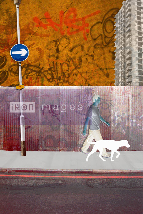Man walking dog in run down city - Man walking dog in run down city - Matt Herring