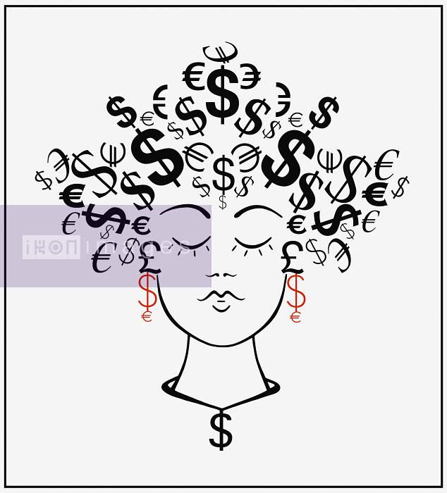 Woman with currency symbols for hair - Woman with currency symbols for hair - Cath Riley