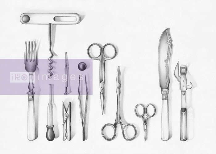 Variety of implements like fork, corkscrew, scissors, etc. - Variety of implements like fork, corkscrew, scissors, etc. - Cath Riley