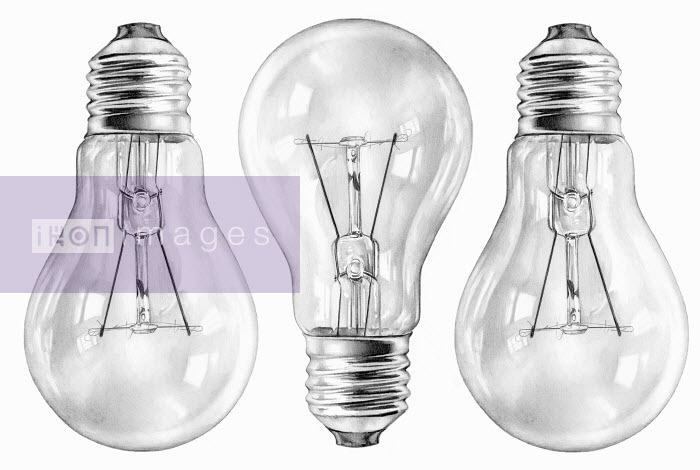 Close up pencil drawing of three filament light bulbs - Close up pencil drawing of three filament light bulbs - Cath Riley