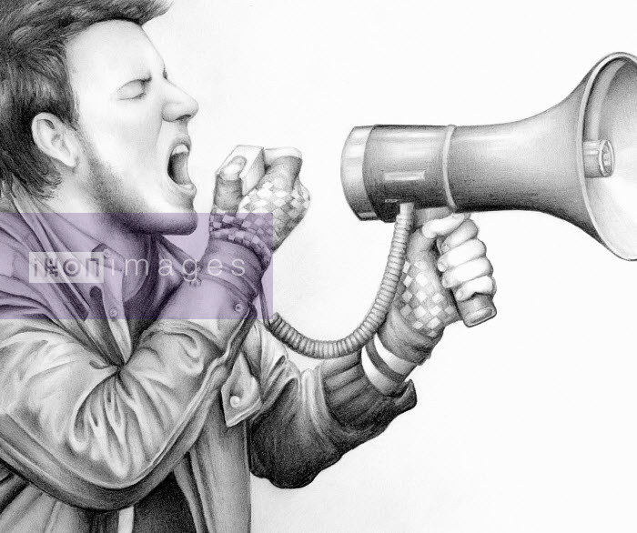 Close up pencil drawing of protester shouting into megaphone - Close up pencil drawing of protester shouting into megaphone - Cath Riley