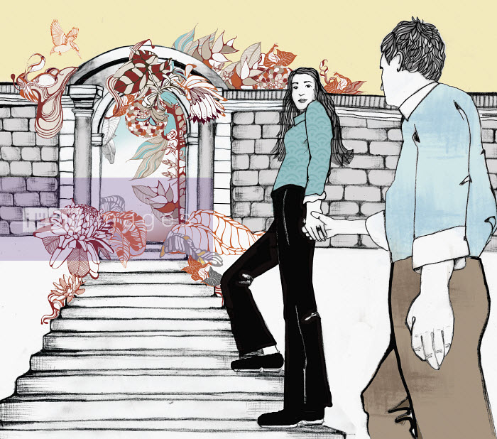 Couple holding hands and entering flowering garden - Couple holding hands and entering flowering garden - ContainerPLUS