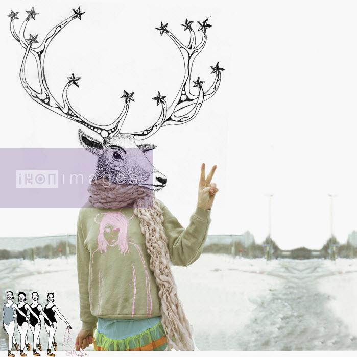 Deer-headed person giving peace sign - Deer-headed person giving peace sign - ContainerPLUS