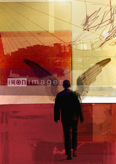 Businessman with wings walking in urban setting - Businessman with wings walking in urban setting - Emma Griffin