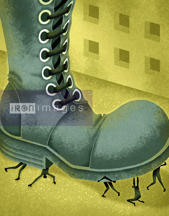 Large boot stomping on small people - Large boot stomping on small people - Matt Kenyon