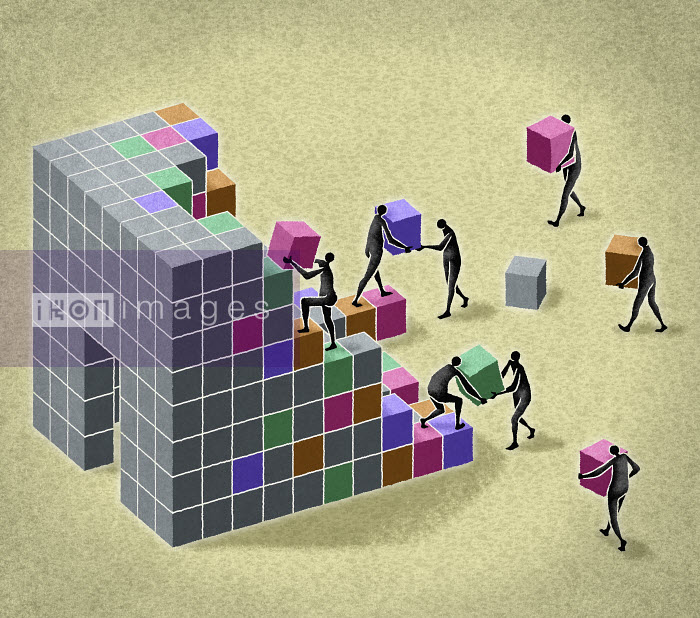 Business people building structure with blocks - Business people building structure with blocks - Matt Kenyon