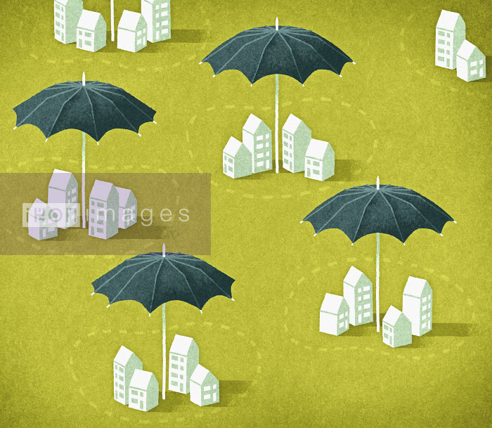 Umbrellas protecting groups of houses - Umbrellas protecting groups of houses - Matt Kenyon