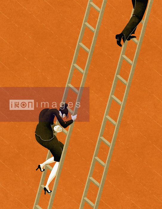 Working woman descending ladder while co-worker ascends - Working woman descending ladder while co-worker ascends - Matt Kenyon