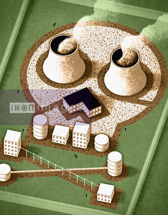 Nuclear factory in shape of skull and crossbones - Nuclear factory in shape of skull and crossbones - Matt Kenyon