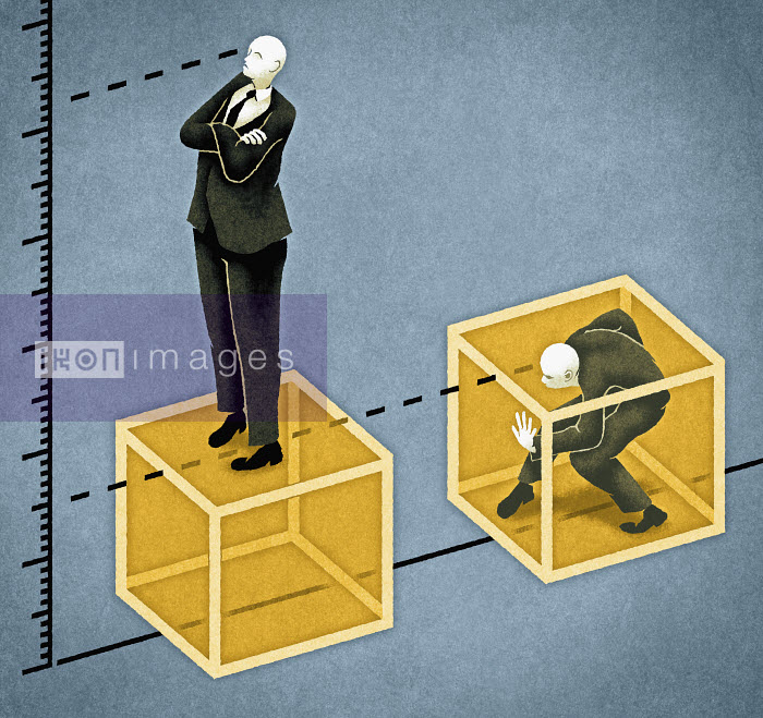 Businessman trapped in a box, co-worker standing on one - Businessman trapped in a box, co-worker standing on one - Matt Kenyon