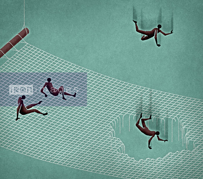People falling through hole in safety net - People falling through hole in safety net - Matt Kenyon