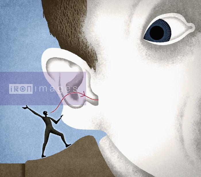 Conscience whispering into man�s ear - Conscience whispering into man�s ear - Matt Kenyon