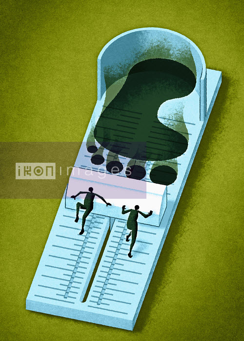 Men measuring footprint - Men measuring footprint - Matt Kenyon
