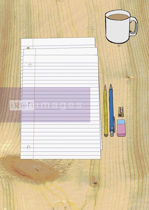 Coffee, paper, pencils, eraser and sharpener - Coffee, paper, pencils, eraser and sharpener - Oliver Hydes